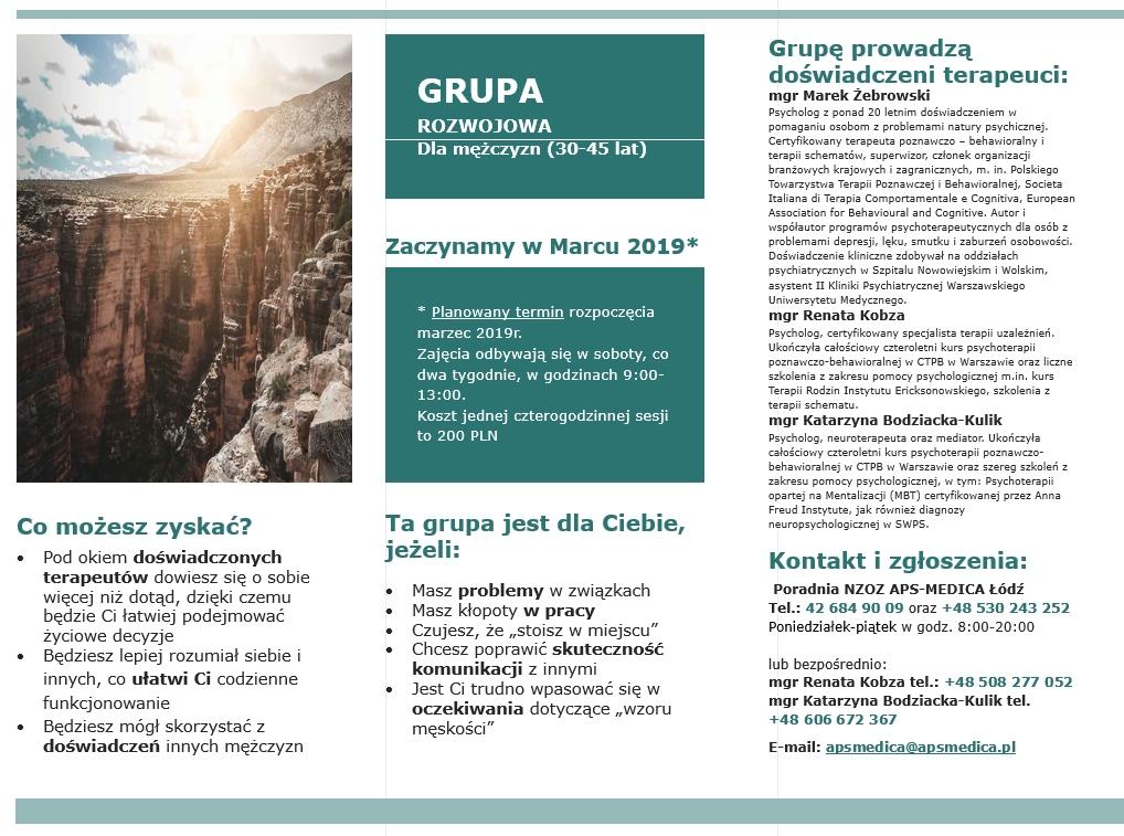 Ogłoszenie o grupie rozwojowej/ terapeutycznej.
